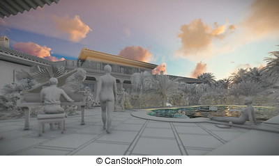 Pool party with piano player at sunset, 3d clay render, pan...
