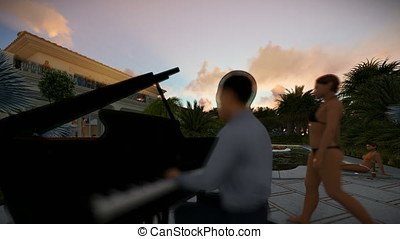 Pool party with piano player at sunset, tilt