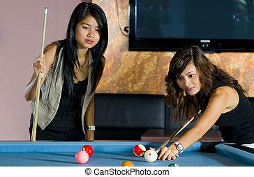 pool., playing., foco, uno, asiático, bastante, juego, mujeres