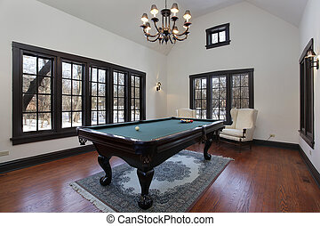 Pool room with wall of windows
