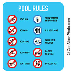 Pool rules signs - Set of typical pool warning and ...