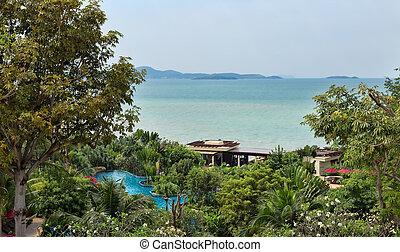 pool, sea, landscape, greenery