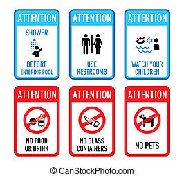 Pool signs, set II - Set of typical pool warning and...