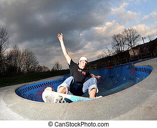 pool, skateboarding
