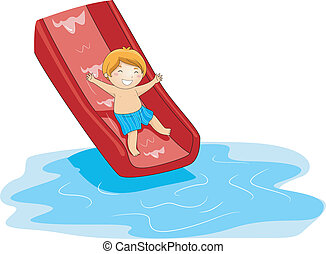 Pool Slide - Illustration of a Kid Playing in the Pool Side