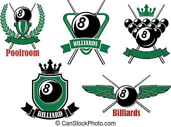 Pool, snooker and billiards game icons