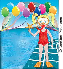Pool Snorkel Girl - Vector Illustration of Snorkel Girl at...
