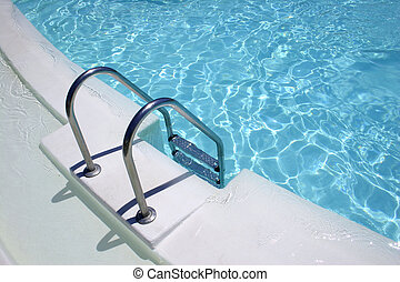 Pool Steps series - Metal steps into bright swimming pool