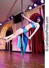 pool, stripper, kostuum, meisje, dancing