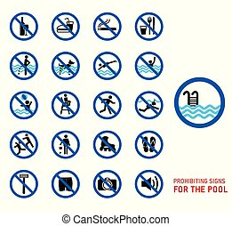 pool., symbole, ensemble, rules., piscine, icônes