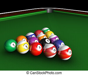 Pool table - 3D render of pool balls on a pool table