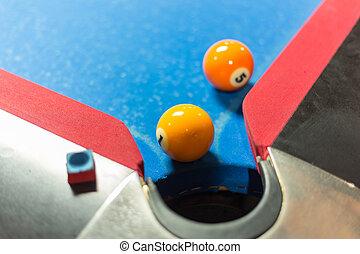 Pool table - Ball near corner pocket of a pool table