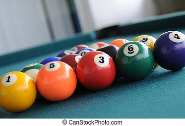 Pool Table Balls  - getting ready to shoot pool table balls