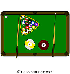 Pool table - Concept illustration showing a pool table with...