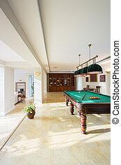 Pool table inside modern house