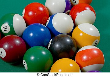 Pool table - Pool balls set up for beginning