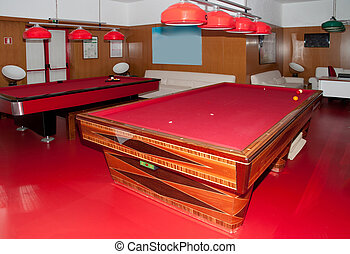 Pool Table - Pool table in wood with red surface