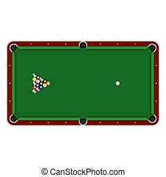 Pool table with balls - Detailed vector illustration of a...