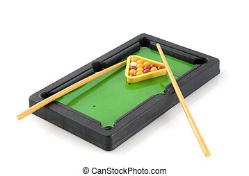 Pool-table with supplies ready to play