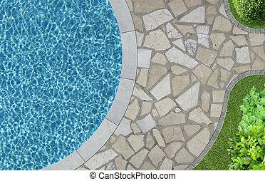 pool, tuin, boven, zwemmen