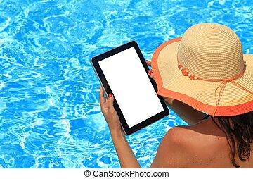 pool, vrouw, computer, vasthouden, tablet