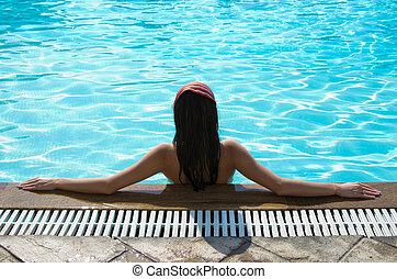 pool, vrouw
