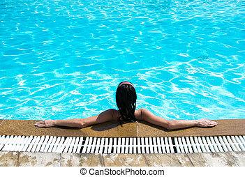 pool, vrouw, zwemmen, zittende