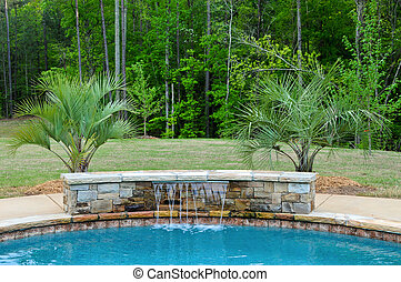 Pool Water Feature - Stone Water Fall Feature for SPA and...