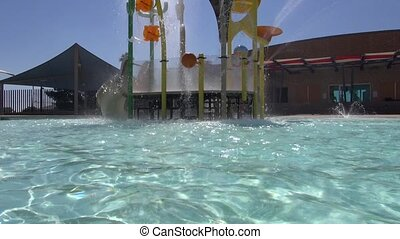 Pool Water Slide - Swimming Pool - A water level pan of a...