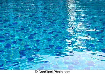 Pool water with bright reflections.