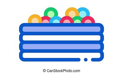 pool with colorful balls Icon Animation. color pool with colorful balls animated icon on white background