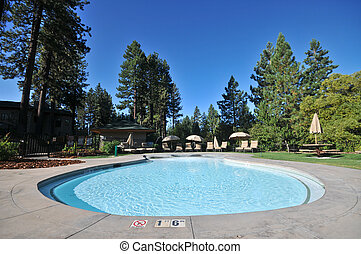 Pool with lounge chairs and trees - Shallow pool with lounge...