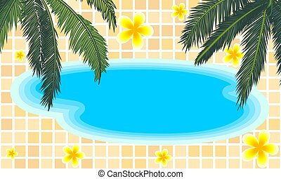 pool with palm trees and flowers