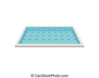 Pool with swimming paths. View from above. Vector illustration on white background.