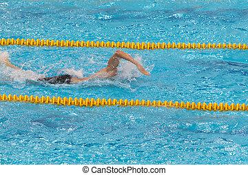 pool, zwemmer, sporten, jonge