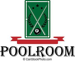 Poolroom and billiards emblem