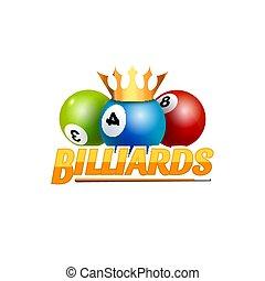 Poolroom billiards game logo icon. Billiards club template emblem design.