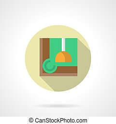 Elements and equipment for poolroom interior. Corner of table with green felt and yellow lamp. Lights for billiard room. Round flat design vector icon.