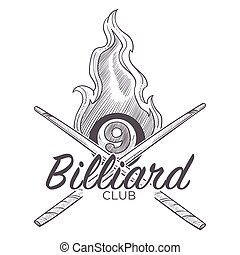 Poolroom billiard logo monochrome sketch outline vector. Sport game, tournament and entertainment. Royal kind of gambling, play with balls and cue, hobby and mens leisure