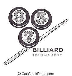 Poolroom logo monochrome sketch outline vector. Sport game, tournament and entertainment. Royal kind of gambling, billiard play with balls and cue, hobby and mens leisure
