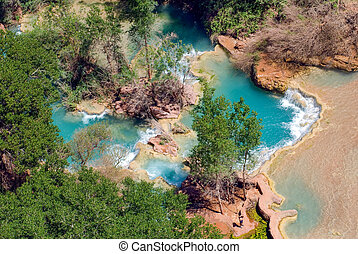 Pools at the bottom of Havasu Falls in Arizona - Pools at...