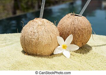 Poolside Coconut Water Drinks - Two coconut water drinks...