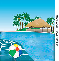 Poolside - Vector Illustration of poolside resort with beach...