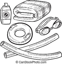Poolside items sketch - Doodle style beach vacation or...