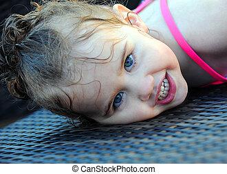Poolside Smile From Little Girl