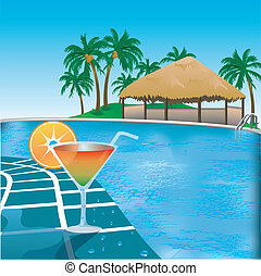 Poolside - Vector Illustration of poolside resort with...