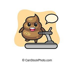 poop cartoon character walking on the treadmill