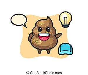poop character cartoon getting the idea