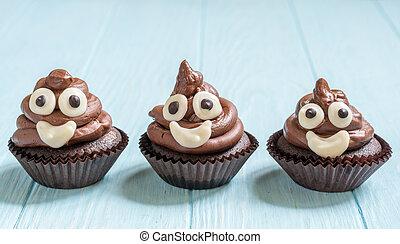 poop emoji cupcakes - Funny poop emoji chocolate cupcakes....