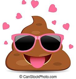 Poop emoji in love, vector funny cartoon